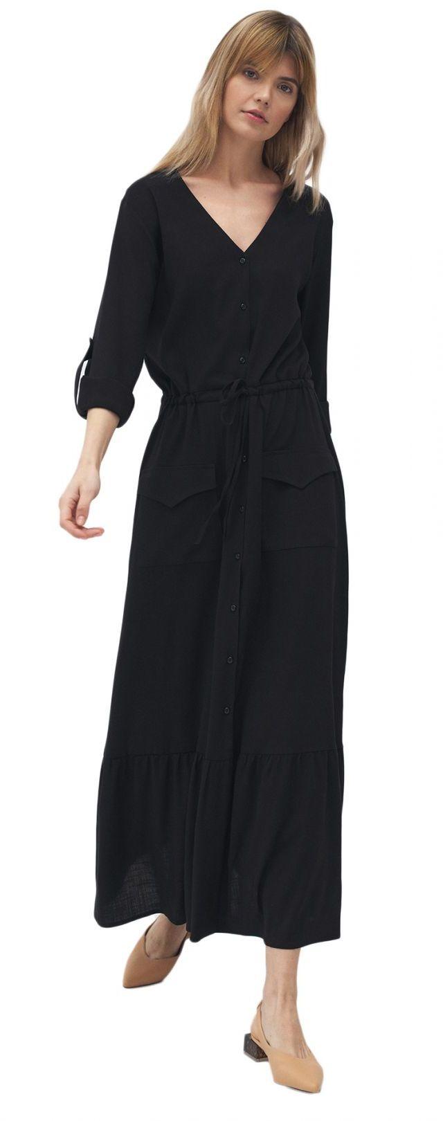 Długa czarna sukienka z kieszeniami - S174