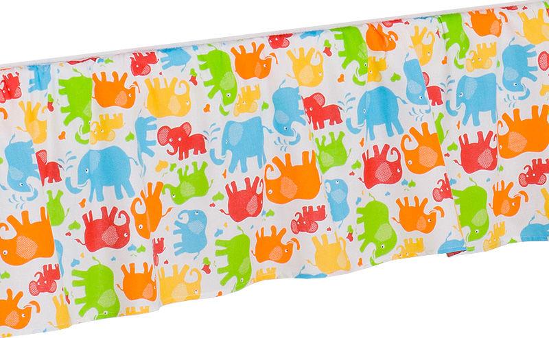 MAMO-TATO Falbanka do łóżeczka 70x140 Słonie kolorowe