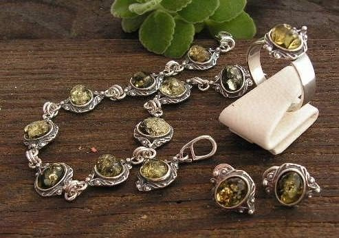 Lunga - srebrny komplet z bursztynem