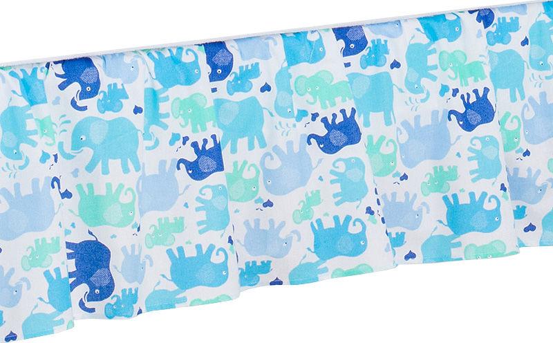MAMO-TATO Falbanka do łóżeczka 70x140 - Słonie niebiesko-zielone