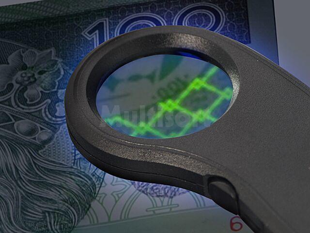 Lupa x7,5 do sprawdzania banknotów podświetlana LED i UV
