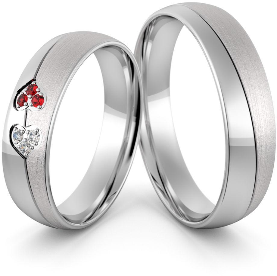 Obrączki srebrne z sercem rubinami i cyrkoniami - wzór Ag-445