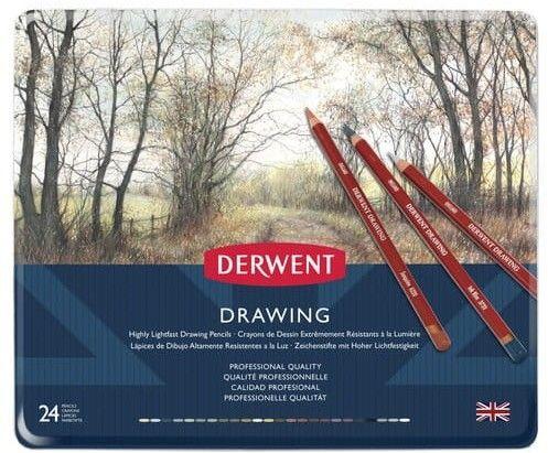 Zestaw Kredek Derwent Drawing 24 kolory (Metalbox)