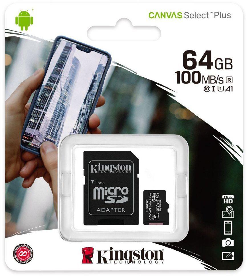 Karta pamięci Kingston Canvas Select Plus microSD (microSDXC) 64GB class 10 UHS-I U1 V10 A1 - 100MB/s + adapter