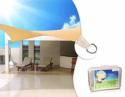GreenBlue GB503 żagiel przeciwsłoneczny, przeciwsłoneczny, ochrona przed wiatrem, słońcem, kwadratowy, 3,6 m x 3,6 m