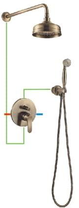 OMNIRES System prysznicowy podtynkowy Art Deco brąz antyczny SYSAD26BR