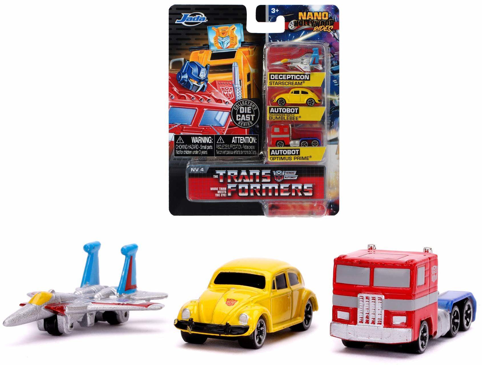 Jada Toys 253111005 Transformers samochody kolekcjonerskie Nano z Die-cast Optimus Prime, Starscream, G1 Bumblebee VW Beetle, samochody zabawkowe, zestaw, 4 cm, od 8 lat