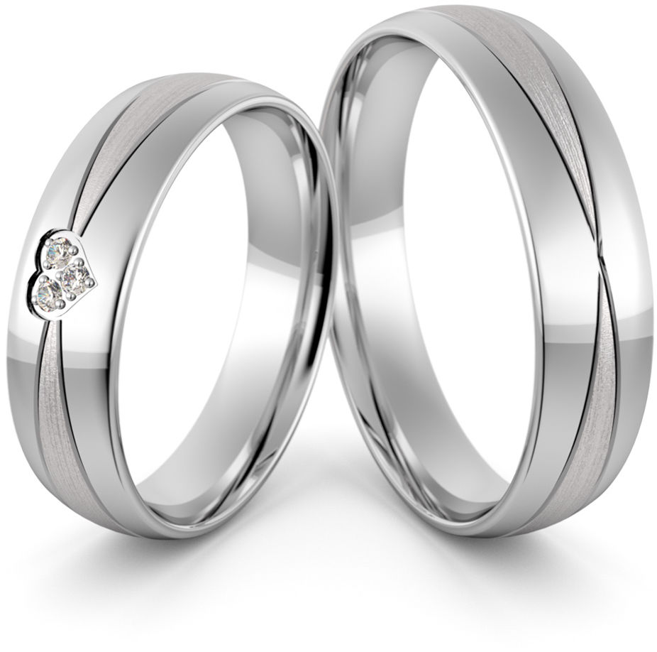 Obrączki srebrne z sercem i cyrkoniami - wzór Ag-450