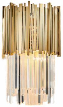 Pipe Organ Wall Brass M - kinkiet kryształowy 45cm mosiądz