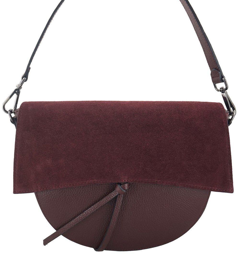 Modna torebka damska z zamszową klapką - Bordowa