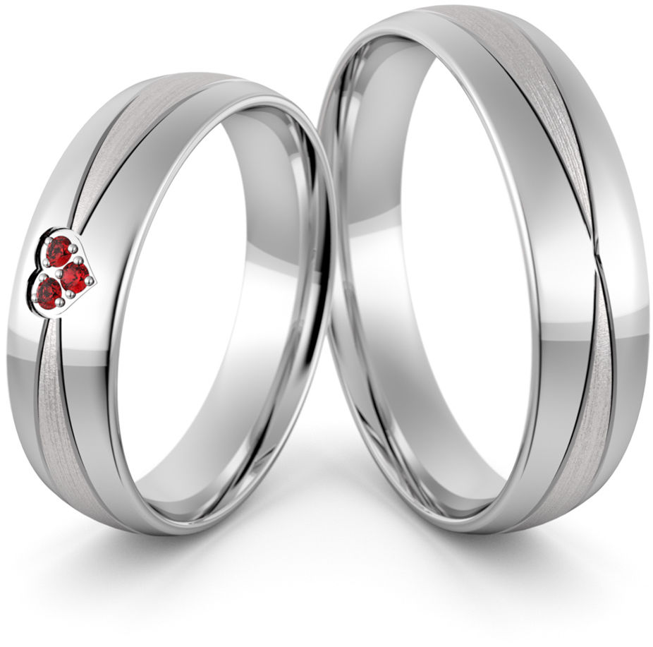 Obrączki srebrne z sercem rubinami i cyrkoniami - wzór Ag-450