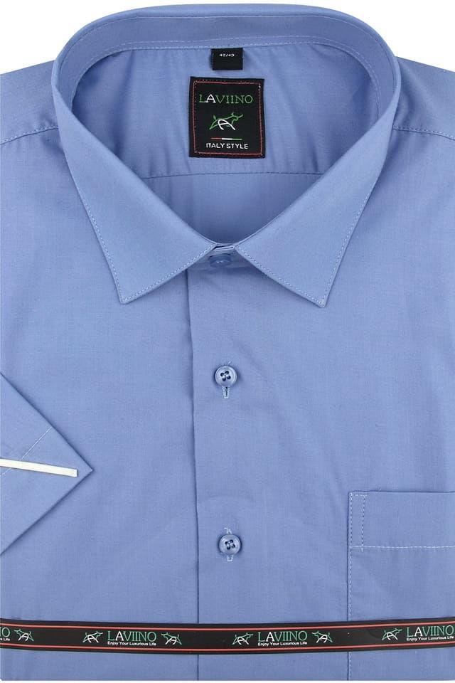 Duża Koszula Męska Laviino gładka niebieska duże rozmiary na krótki rękaw K705