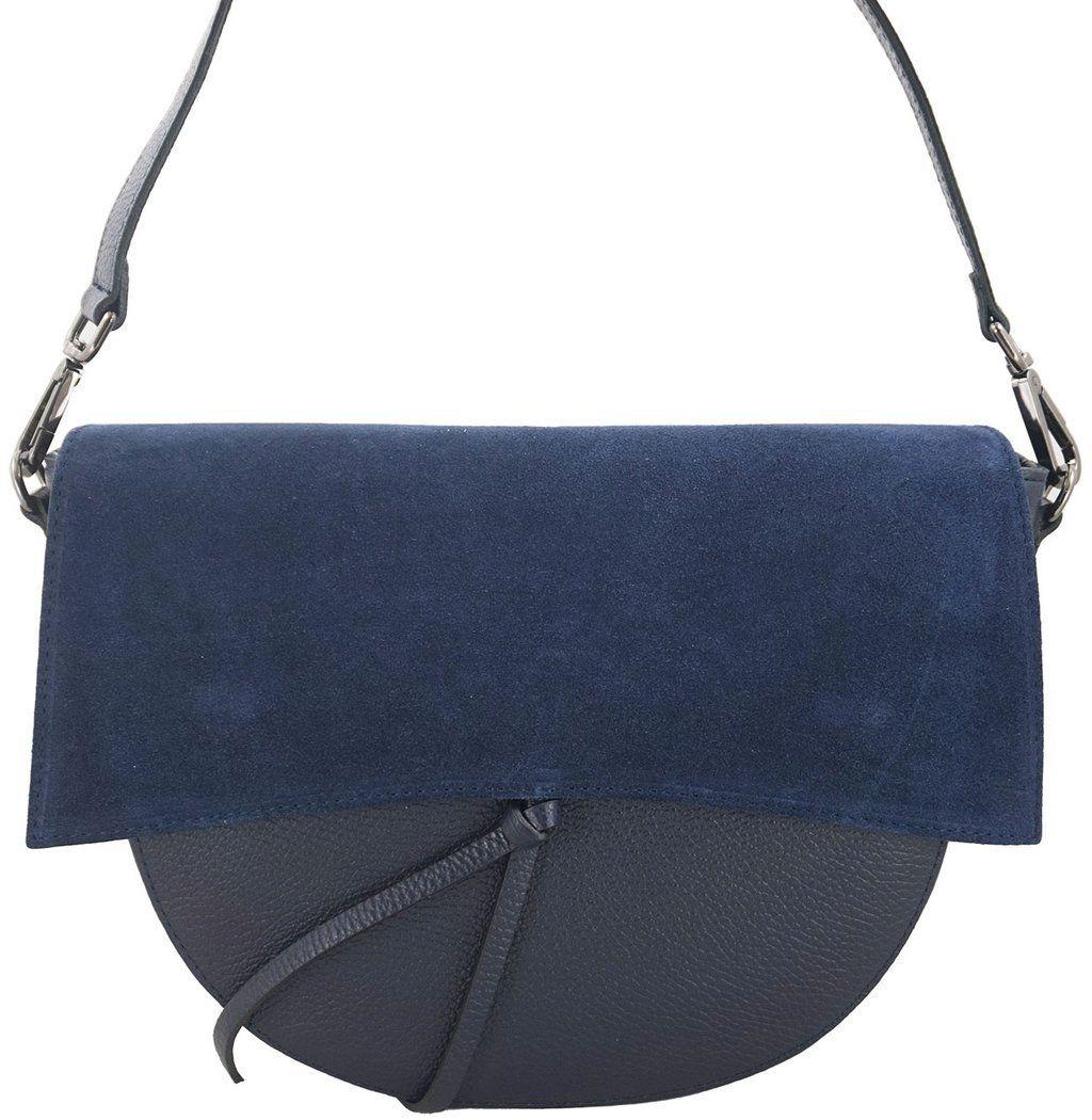 Modna torebka damska z zamszową klapką - Granatowa