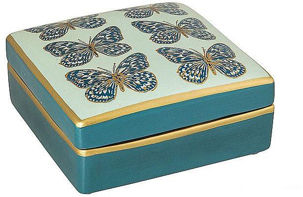 Kwadratowa Szkatułka Niebiesko Złota z Motylkami VRL28326