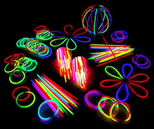 100 świetlików 20 cm x 0,5 cm w 6 kolorach, Glowsticks, świecące pałeczki