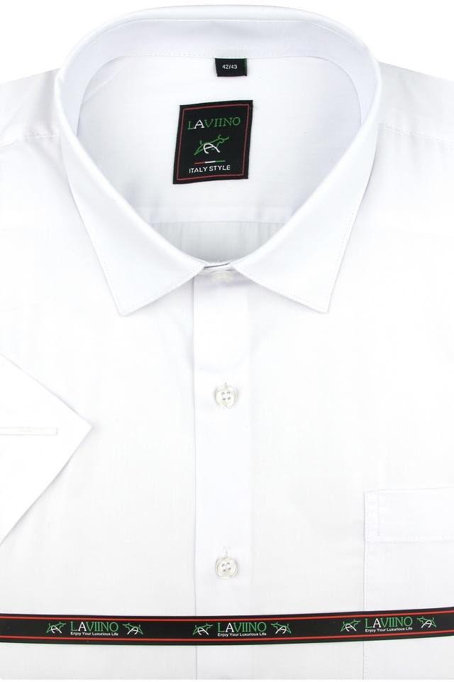 Duża Koszula Męska Laviino gładka biała na krótki rękaw Duże rozmiary K740