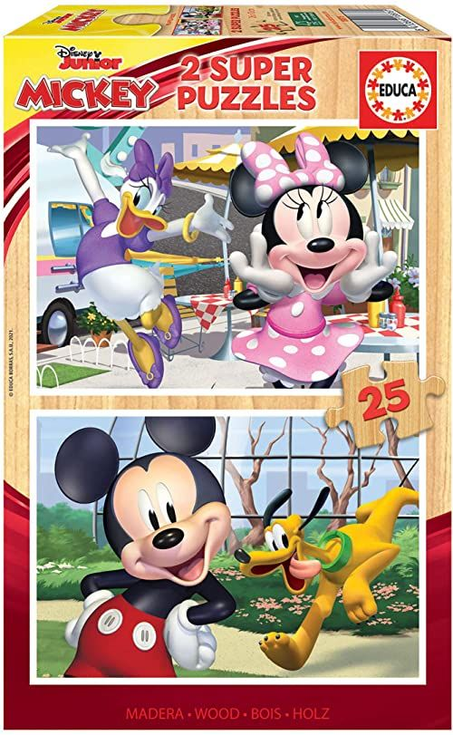 Educa Infantiles Madera de piezas. +4 años. Ref. 18876 Mouse Disney Mickey and Friends. 2 puzzle dla dzieci, każda z 25 częściami z drewna, kolorowe