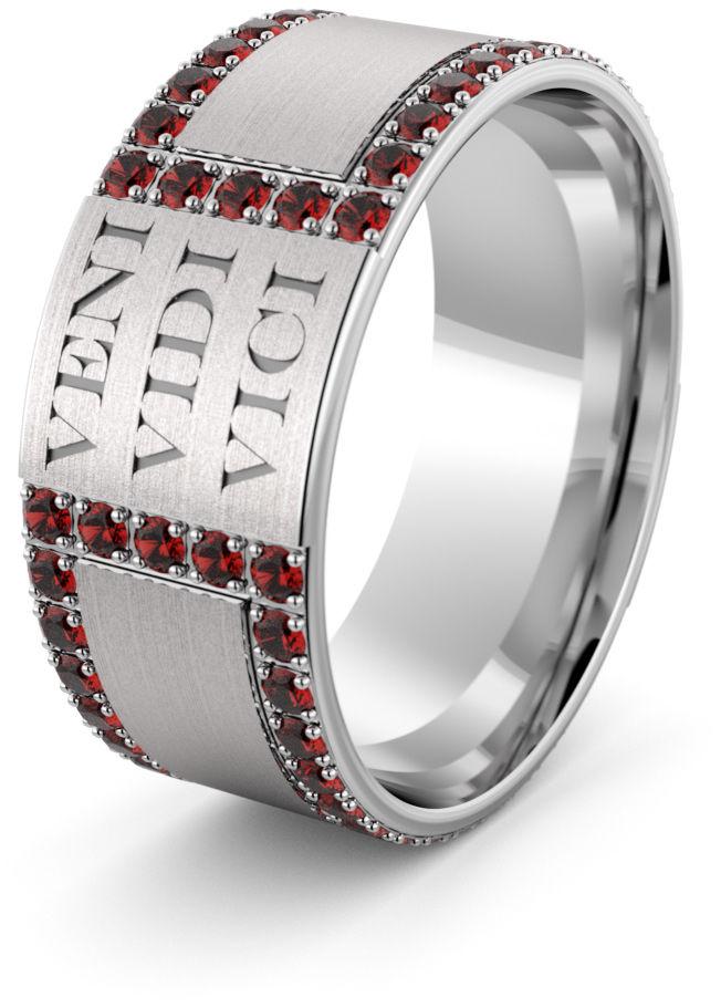 Obrączka srebrna Veni Vidi Vici - wzór Ag-451