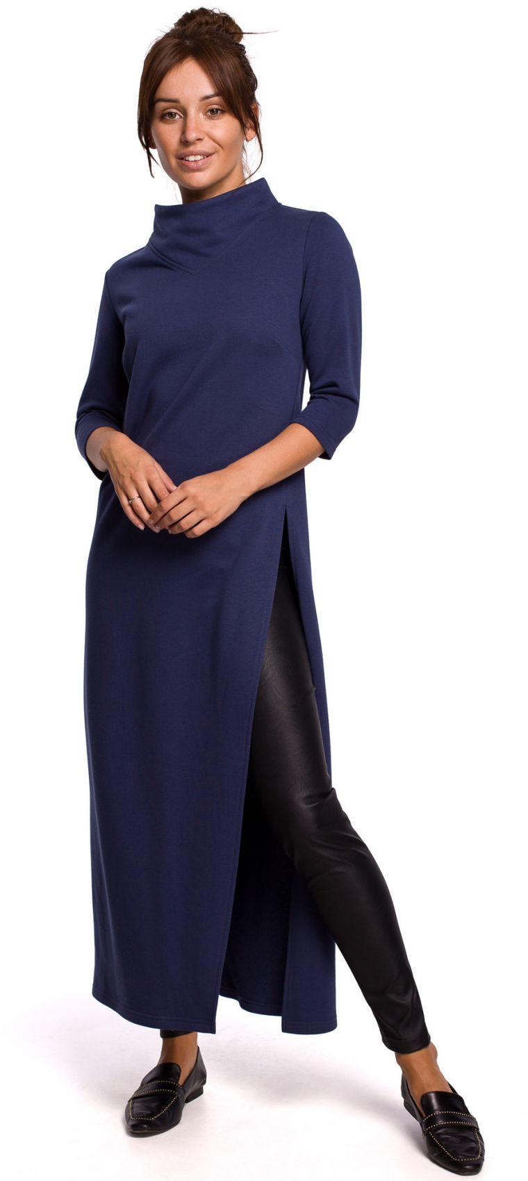 B163 Długa tunika z rozcięciem - niebieska