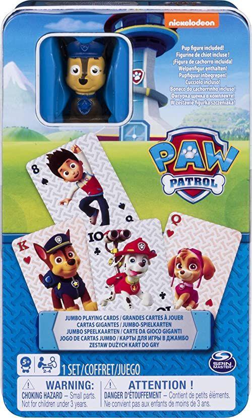 Spin Master Games 6044336 - Jumbo - karty do gry z Chase - figurka, w metalowym pudełku