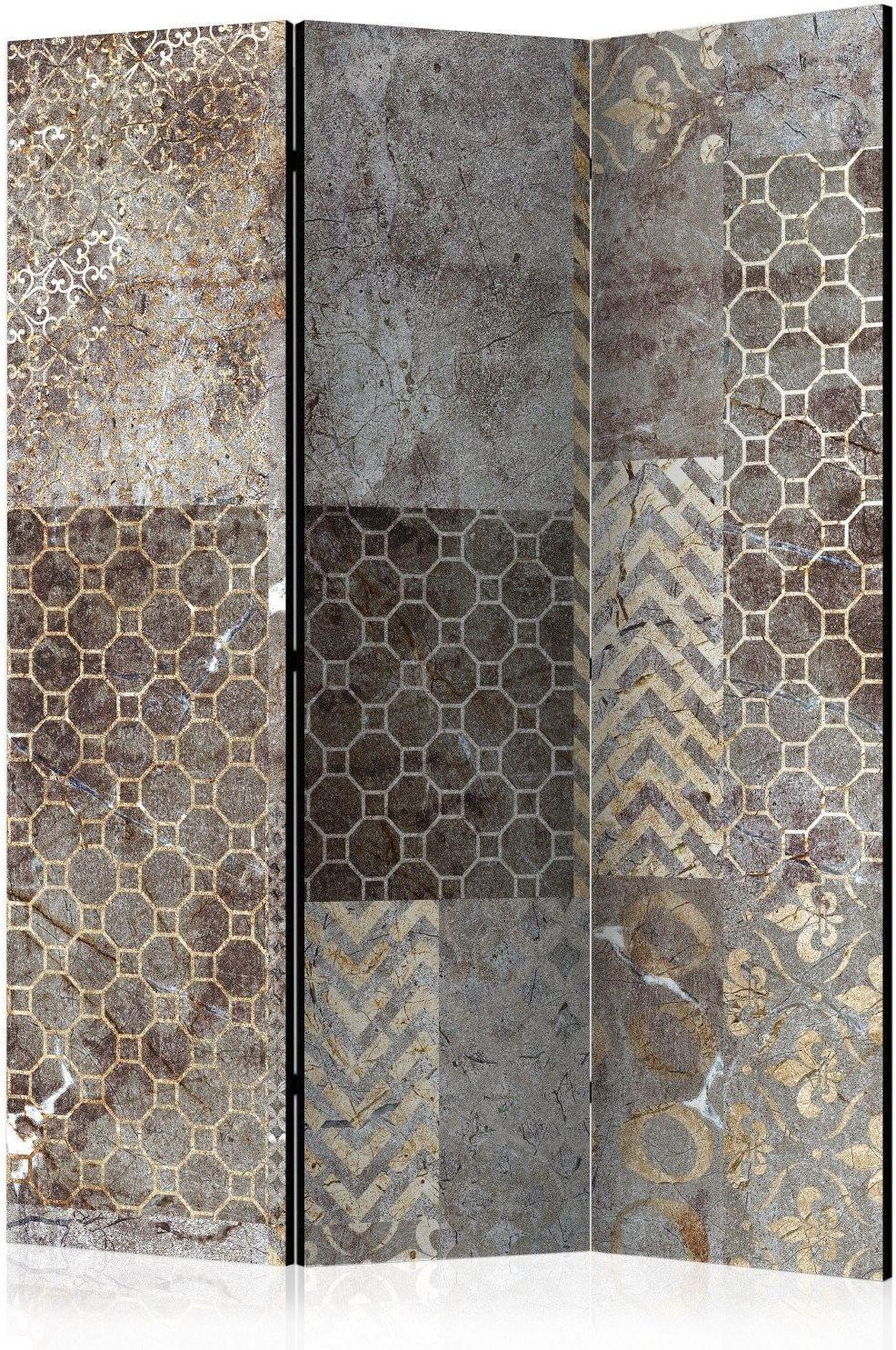 Parawan 3-częściowy - geometryczne tekstury [room dividers]