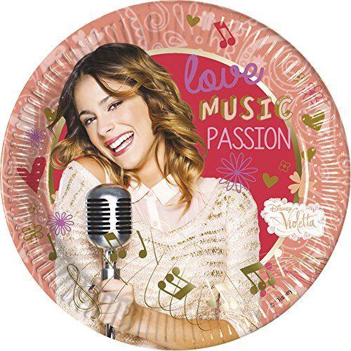 Unique Party 71903 - 23 cm Music Passion Disney Violetta Party Plates, opakowanie 8 sztuk