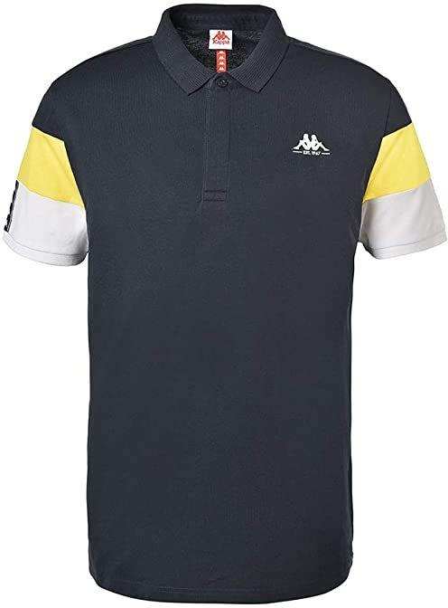 Kappa Męska koszulka polo Iphen z krótkim rękawem niebieski/żółty M