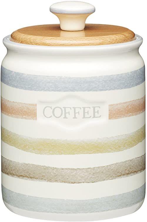 KitchenCraft Classic Collection ceramiczny słoik do przechowywania kawy w paski, 800 ml (28 ml) - kremowy