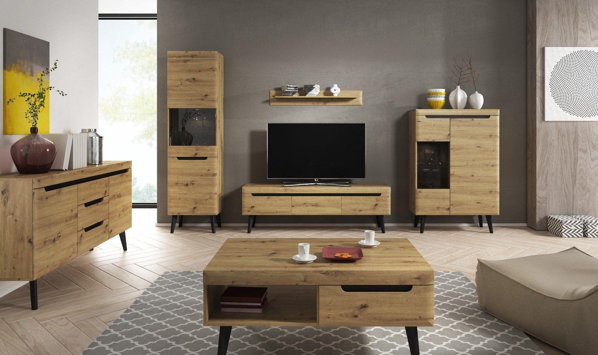 Szafka RTV EBBI 107 dąb artisan drewniana do salonu  KUP TERAZ - OTRZYMAJ RABAT