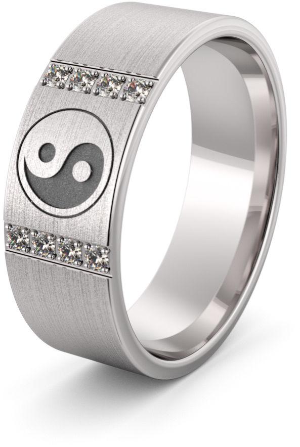 Obrączka srebrna ze znakiem równowagi - wzór Ag-456