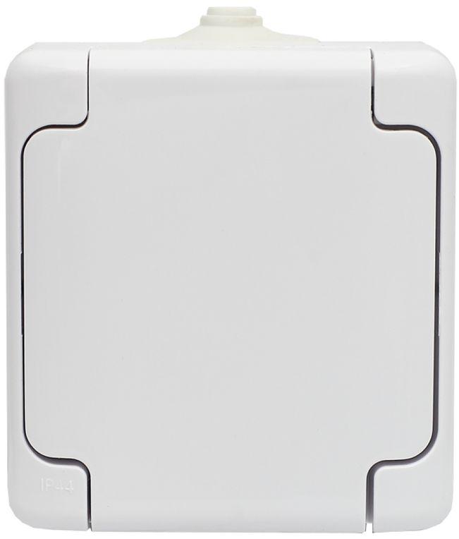 BRYZA Gniazdo hermetyczne pojedyncze z/u IP54 z klapką białe 180432