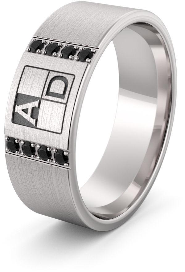 Obrączka srebrna z inicjałami - wzór Ag-457