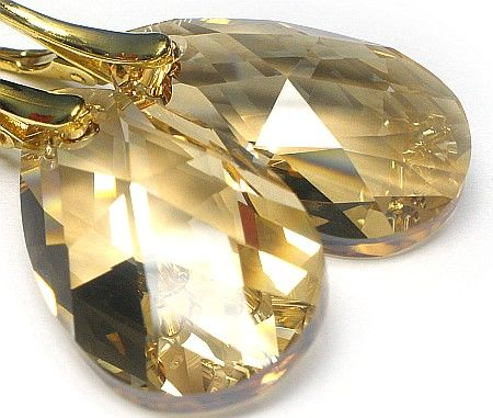 SWAROVSKI piękne kolczyki SREBRO GOLDEN