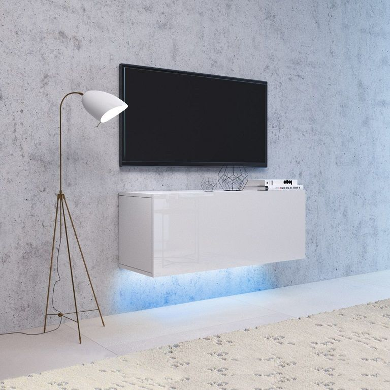 Szafka wisząca RTV NEXA 140 biały-biały połysk LED