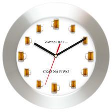 Aluminiowy zegar ścienny Czas na piwo