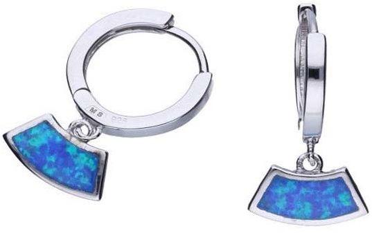 Srebrne kolczyki 925 na kółeczku z niebieskim opalem 3,07g