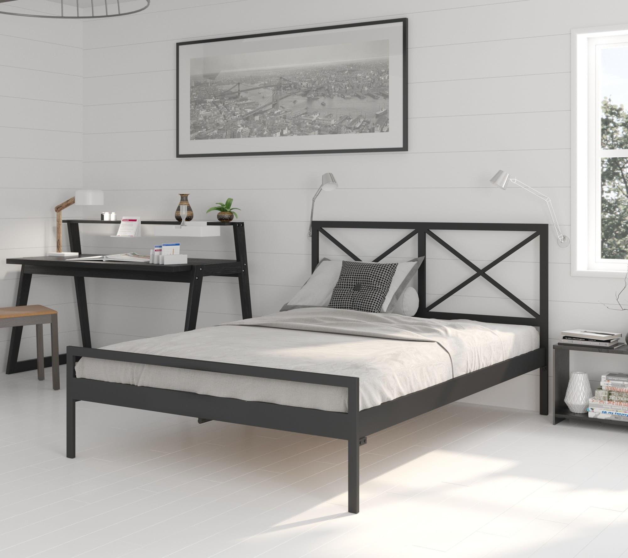 Łóżko metalowe dwuosobowe 140 x 200 wzór 38 ze stelażem