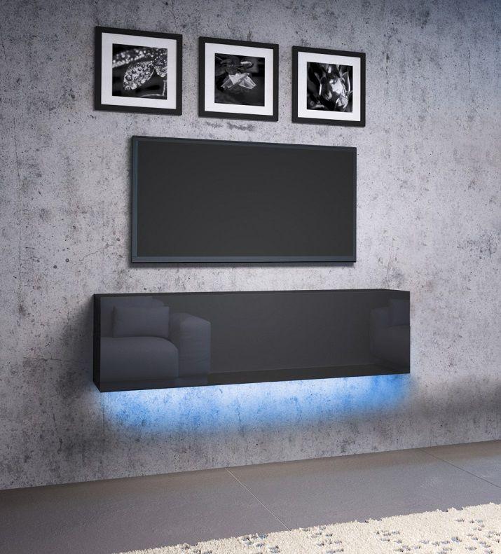 Szafka wisząca RTV NEXA 140 czarny-czarny połysk LED