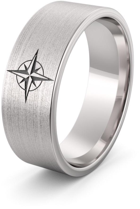 Obrączka srebrna róża wiatrów - wzór Ag-458