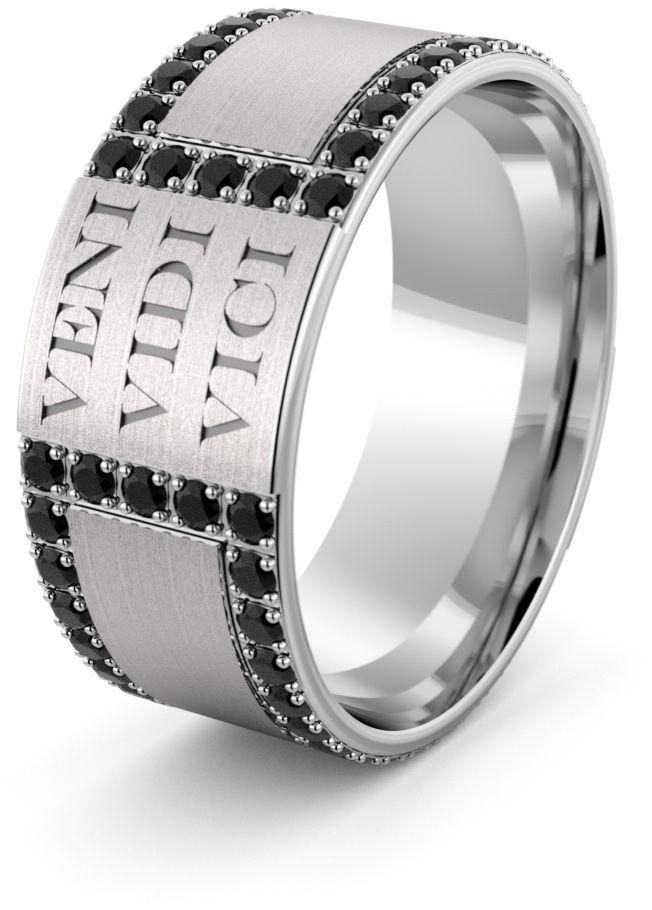 Obrączka srebrna męska Veni Vidi Vici - wzór Ag-451