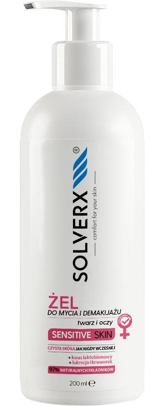 Żel do mycia i demakijażu twarzy i oczu Solverx Sensitive Skin 200 ml