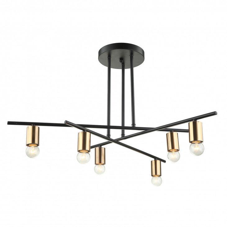 Lampa sufitowa nowoczesna Normani MDM3658/6 BK+BRO Italux czarna lampa na sufit