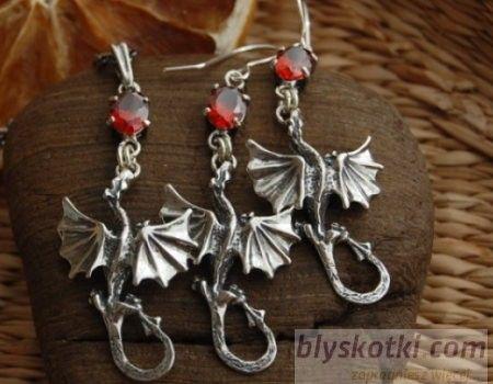 Dragon - srebrny komplet z granatem