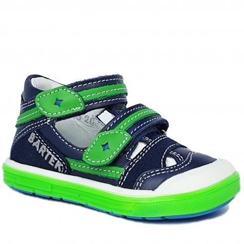 Bartek T-81885-005 sandałki, sandały zabudowane, PÓŁSANDAŁKI profilaktyczne dziecięce - niebieski, zielony