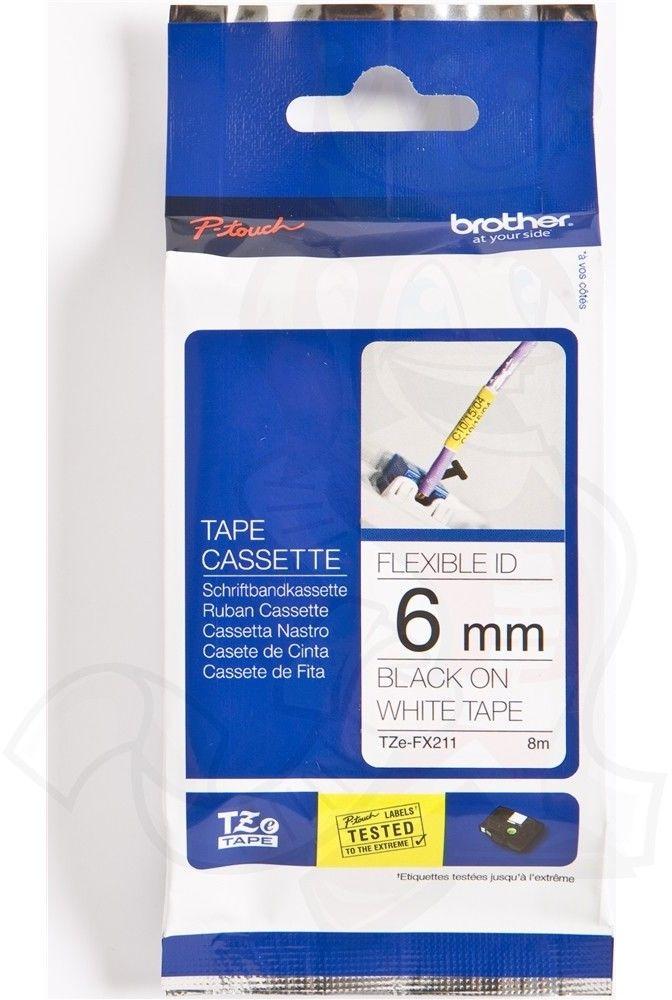 Brother TZe-FX211 Flexi ID taśma, nadruk czarny na białym tle, 6 mm, oryginalna