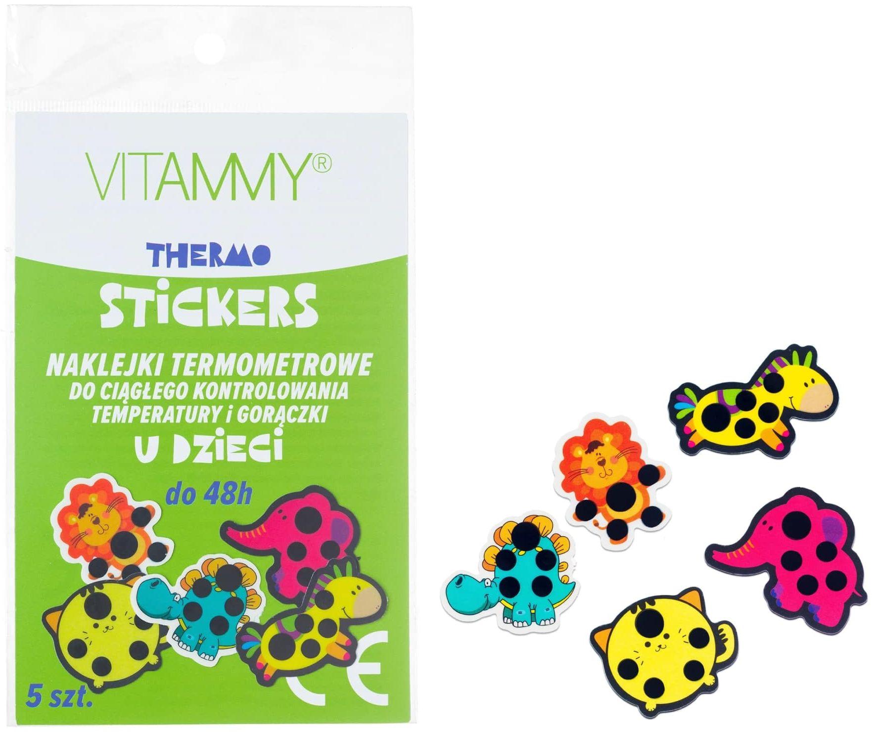 VITAMMY Thermo stickers Naklejki termometrowe do ciągłego monitorowania gorączki i temperatury u dzieci - zestaw 5 wzorów