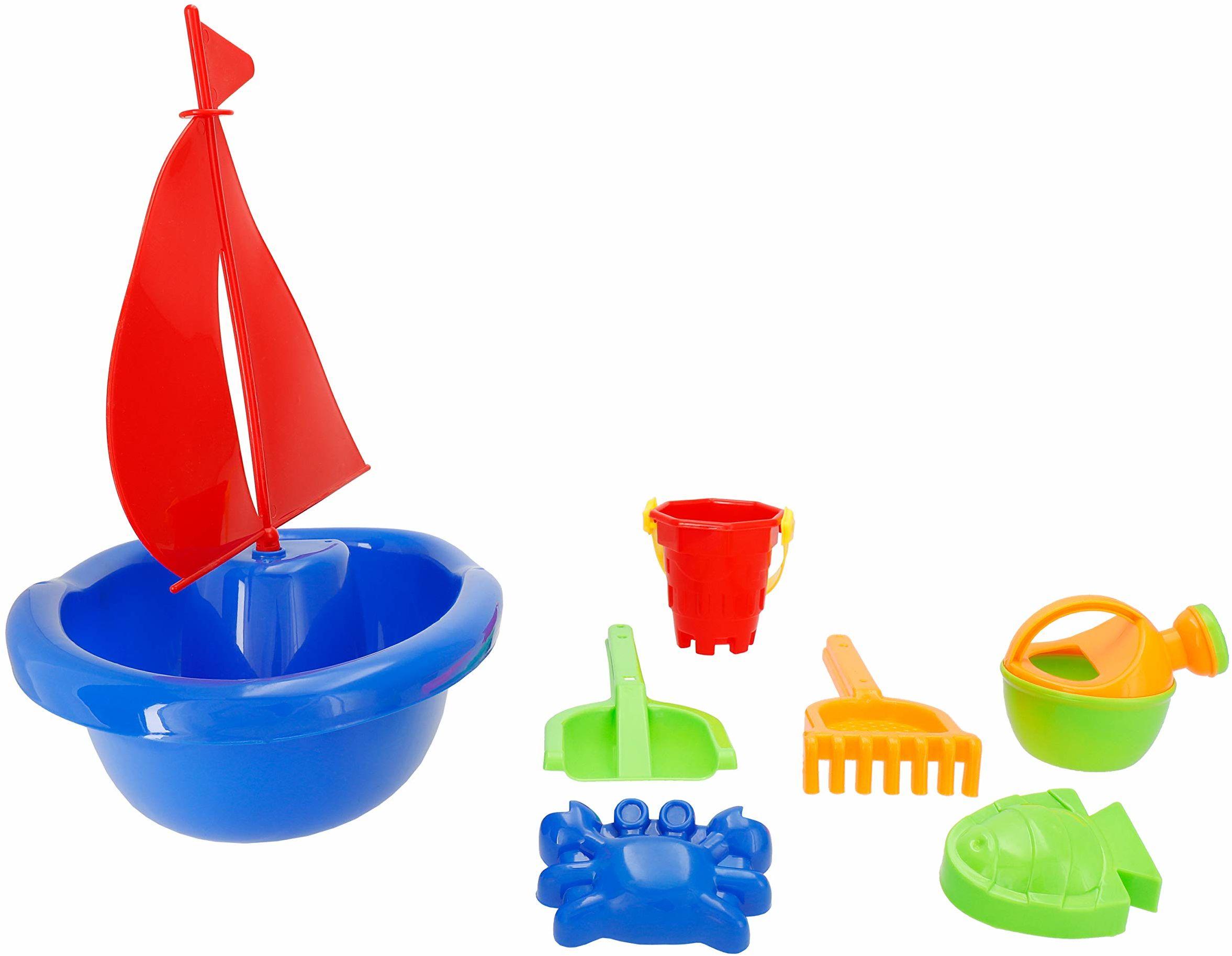Bieco Zestaw 7-częściowy żaglówka ok. 35 cm idealna zabawka plażowa dla dzieci piaskownica, zabawki dla dzieci piaskownice, piaskownica, piaskownica i statek