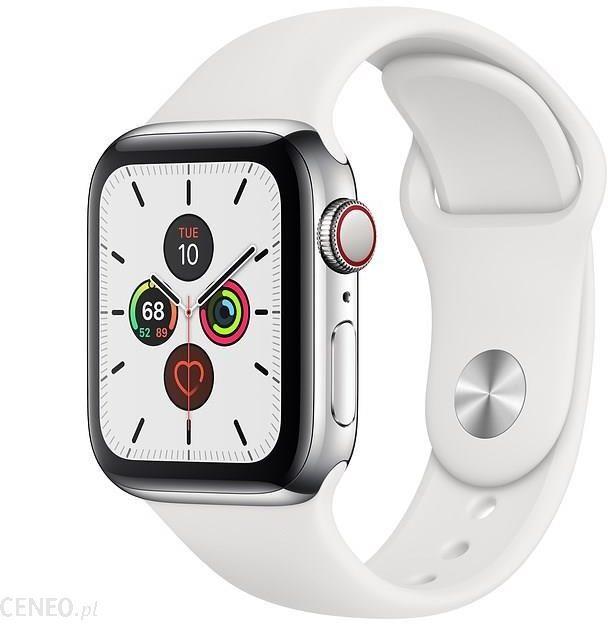Zegarek Apple Nike SE 44mm Srebrne aluminium z platyną/czarnym paskiem sportowym Nike MWX42WB/A