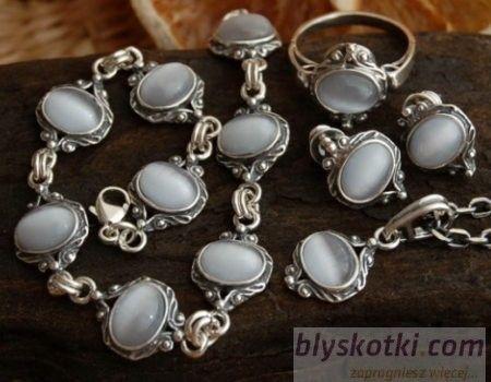 Canto bueno - srebrny komplet z kocim okiem