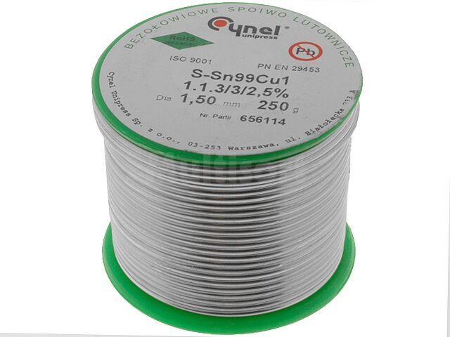 Tinol bezołowiowy Sn-99% Cu-1% 1,50mm/250g Cynel